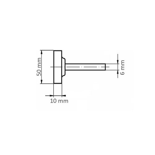 20 Stk. | Schleifstift ZY Zylinderform für Werkzeugstähle 50x10 mm Schaft 6 mm Korn 24 Maßzeichnung