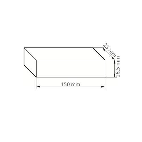5 Stk. | Rutscherstein RU 5 | 150x20x16,5 mm Edelkorund Maßzeichnung