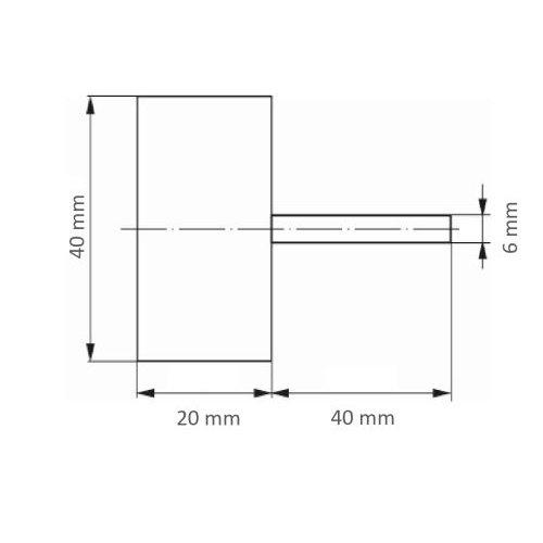 10 Stk. | Fächerschleifer SFV universal 40x20 mm Schaft 6 mm Korund Korn 100 Maßzeichnung