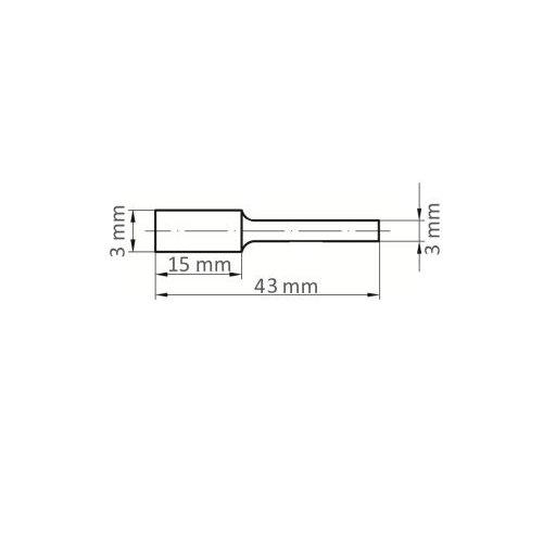 LUKAS Fräser HFAS Zylinderform für Kunststoff 3x15 mm Schaft 3 mm Stirnverzahnung  Maßzeichnung