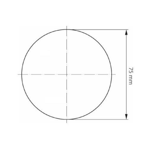 10 Stk. | LUKAS Mini-Fächerschleifscheibe SLTG universal Ø 75 mm Zirkonkorund Korn 120 flach  Maßzeichnung