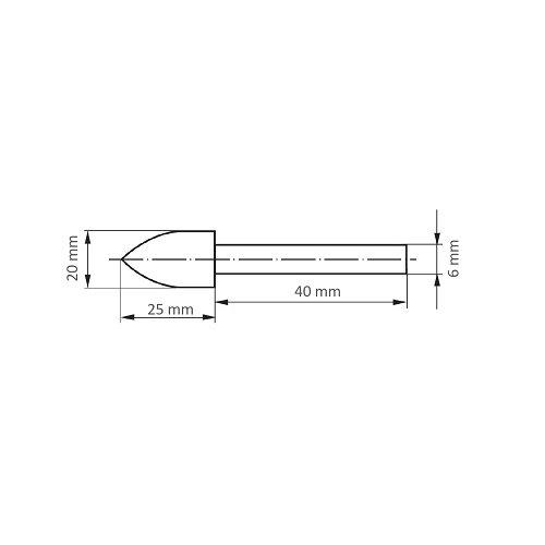 10 Stk. | Polierstift P3SP Spitzbogenform 12x20 mm Schaft 6 mm Filz für Polierpaste Maßzeichnung