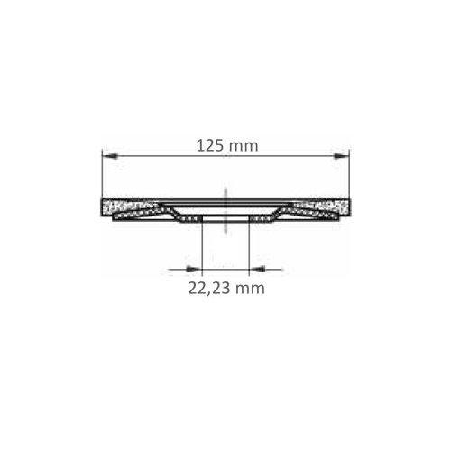 LUKAS Fächerschleifscheibe V2 POWER universal Ø 125 mm Zirkonkorund Korn 60 schräg Maßzeichnung