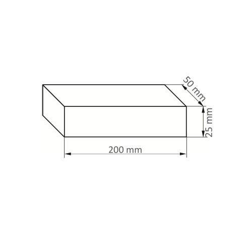 5 Stk. | Rutscherstein RU 6 | 200x50x25 mm Edelkorund Maßzeichnung