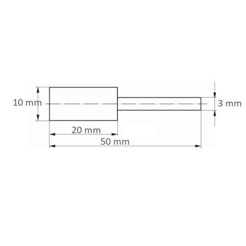10 Stk. | Polierstift P6ZY Zylinderform Medium 10x20 mm Schaft 3 mm Siliciumcarbid Maßzeichnung
