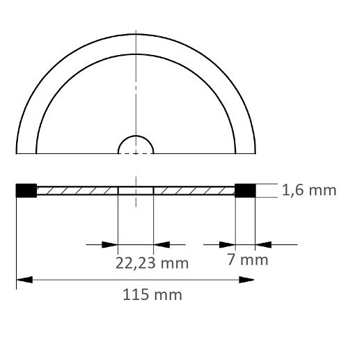 1 Stk. | Diamanttrennscheibe FLIESE S7 für Stein/Fliesen Ø 115 mm für Winkelschleifer Maßzeichnung