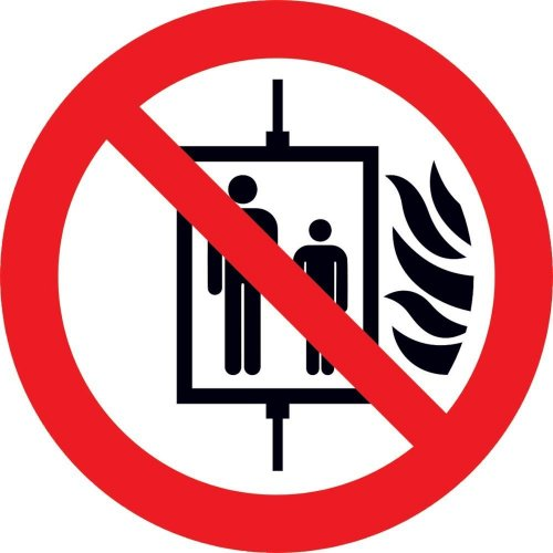 Verbotsschild 100 mm Aufzug n. ben., Fol HI150