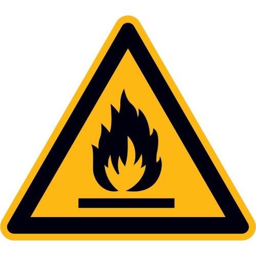 Warnung feuergef. StoffenPVC-Folie, selbstklebend