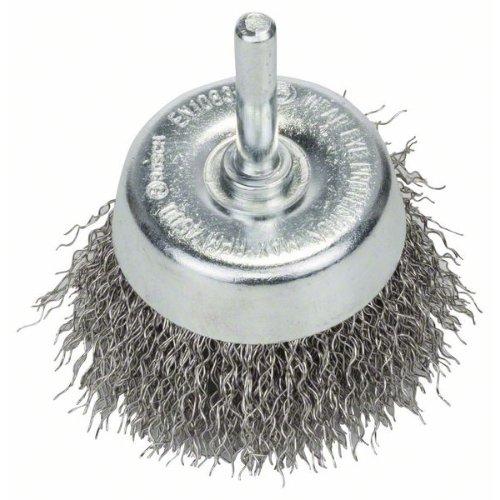 Topfbürste, Edelstahl, gewellter Draht, 60 mm, 0,3 mm, 4500 U/min