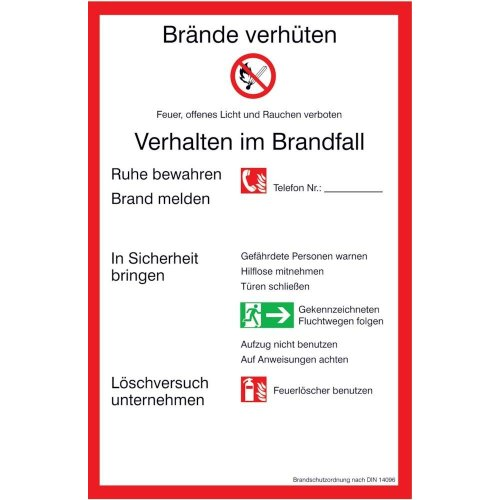 Brandschutzordnung (PVC) 200x300mm