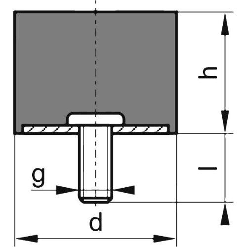 Gummi-Metall-Puffer Aus.D15 x 8mm M4x10