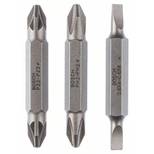 Doppelklingenbit-Set, 3-teilig, S0,6x4,0, S0,6x4,0, PH2, PH2, PZ2, PZ2, 45 mm