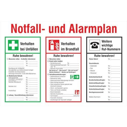 Notfall- und Alarmplan Kunststoff (PVC)