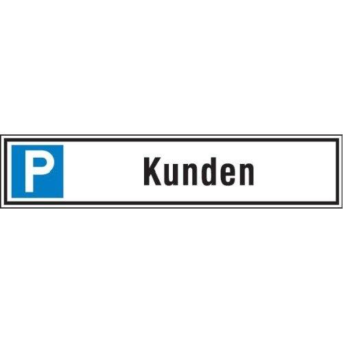 Parkplatzschild 520 x110 mm Alu, Kunden