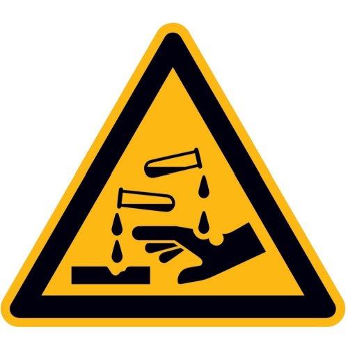 Warnung ätzenden Stoffen PVC-Folie, selbstklebend