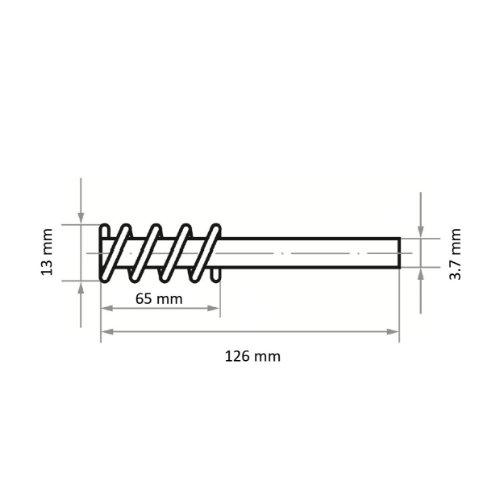 10 Stk | Rohrbürste RBSN universal 13x65 mm für Bohrmaschinen aus Nylon Abb. Ähnlich