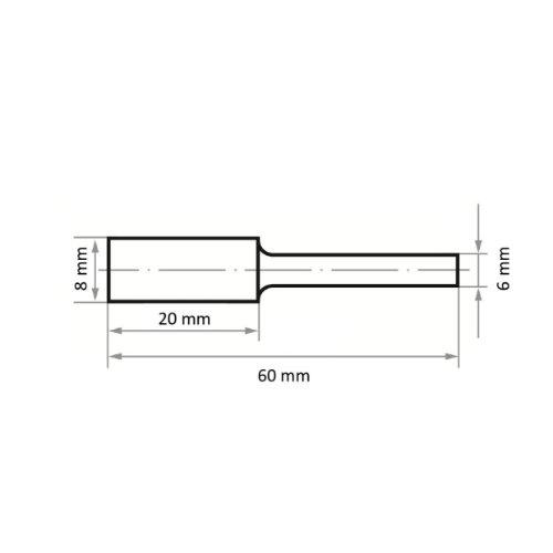 1 Stk | Fräser HFAS Zylinderform für Stahl 8x20 mm Schaft 6 mm | stirnverzahnt Verz. 7 Abb. Ähnlich
