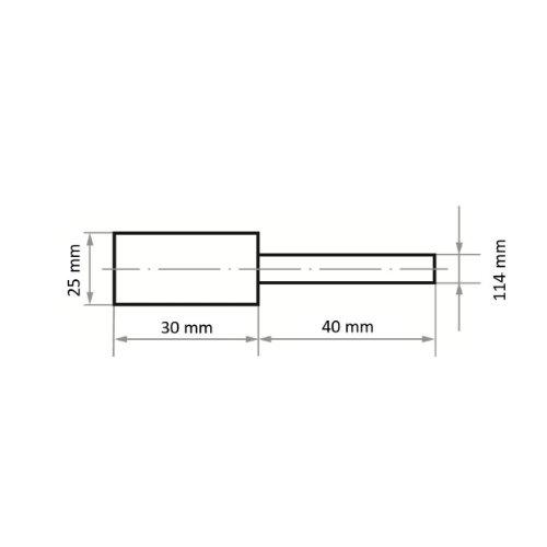10 Stk | Polierstift P3ZY Zylinderform 25x30 mm Schaft 6 mm Filz für Polierpaste Maßzeichnung