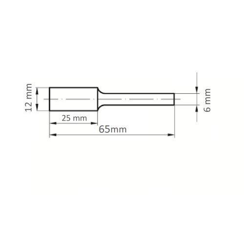 1 Stk | Fräser HFA Zylinderform universal 12x25 mm Schaft 6 mm Maßzeichnung