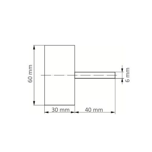 1 Stk | Fächerschleifer SFM universal 60x30 mm Schaft 6 mm Korund Korn 180/150 Maßzeichnung