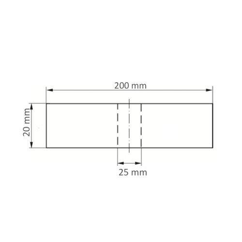1 Stk | Polierscheibe P6SE1 universal Medium 200x20 mm Bohrung 25 mm Kompaktkorn Maßzeichnung