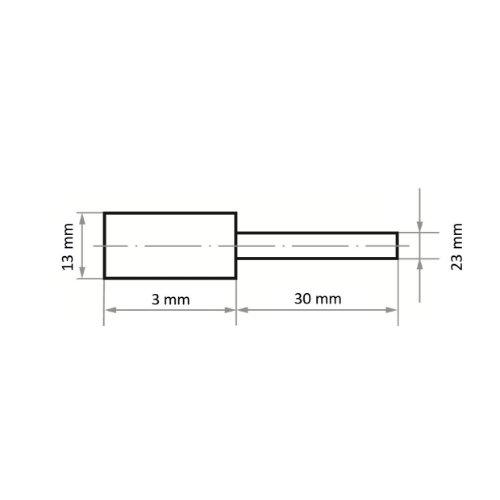 20 Stk   Polierstift P1ZY Zylinderform 13x3 mm Schaft 3 mm Abb. Ähnlich