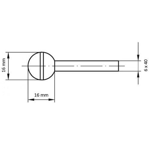 20 Stk | Schleifstift KU Kugelform für Stahl/Stahlguss 16x16 mm Schaft 6 mm Korn 30 Maßzeichnung