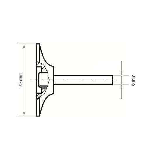 1 Stk | Werkzeugaufnahme GTG für selbstspannende Schleifblätter Ø 75 mm Schaft 6 mm | hart Abb. Ähnlich