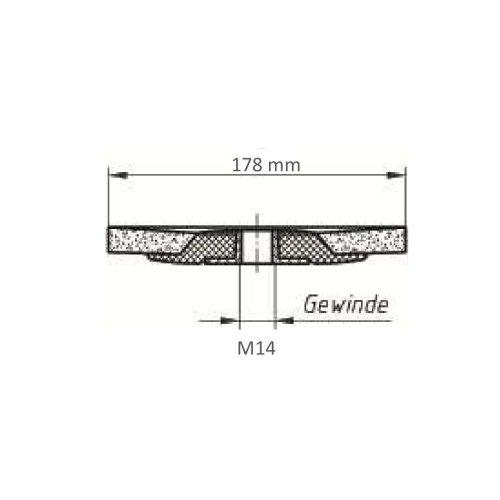 1 Stk | Fächerschleifscheibe SLTs-flex universal Ø 178 mm Zirkonkorund Korn 60 flach Maßzeichnung