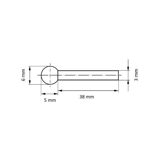 20 Stk | Polierstift P3KU Kugelform 6x5 mm Schaft 3 mm Filz für Polierpaste Abb. Ähnlich