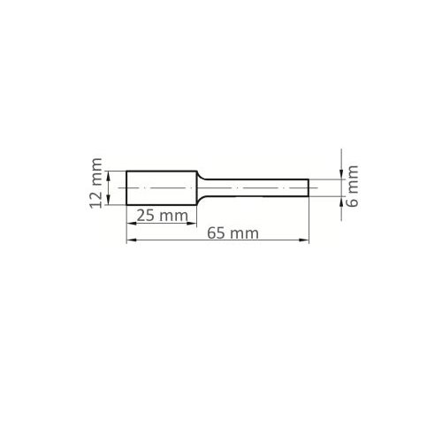 1 Stk | Fräser HFAS Zylinderform für gehärtete Stähle 12x25 mm Schaft 6 mm Stirnverzahnung Maßzeichnung