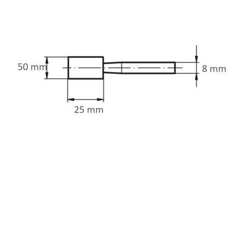 20 Stk | Schleifstift ZY Zylinderform für Werkzeugstähle 50x25 mm Schaft 8 mm Korn 24 Maßzeichnung