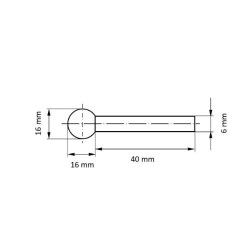10 Stk | Polierstift P1KU Kugelform 16x16 mm Schaft 6 mm Abb. Ähnlich