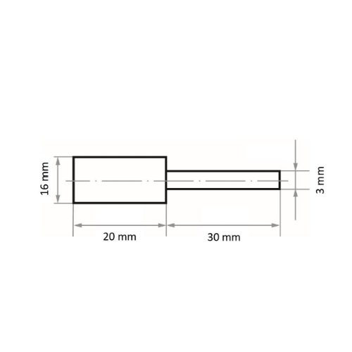 10 Stk | Polierstift P6ZY Zylinderform fein 16x20 mm Schaft 3 mm Siliciumcarbid Korn 150 Abb. Ähnlich