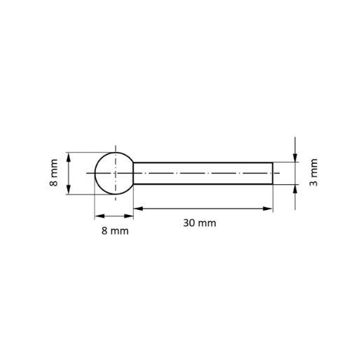20 Stk | Polierstift P2KU Kugelform 8x8 mm Korn 120 | Schaft 3 mm Abb. Ähnlich