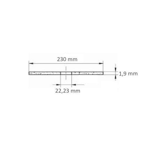 1 Stk | Trennscheibe T41 für Edelstahl Ø 230x1,9 mm gerade | für Winkelschleifer Maßzeichnung