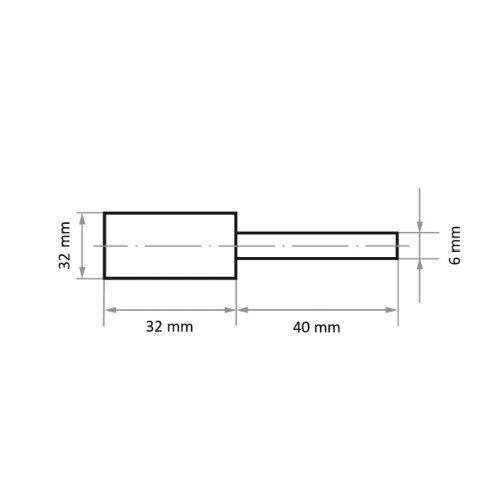 10 Stk   Polierstift P5ZY Zylinderform 32x32 mm Korn 80   Schaft 6 mm Abb. Ähnlich