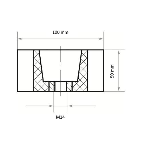 2 Stk | Schleifwalze LWM universal 100x50 mm mit Innengewinde M14 | Korund Korn 180/150 Abb. Ähnlich