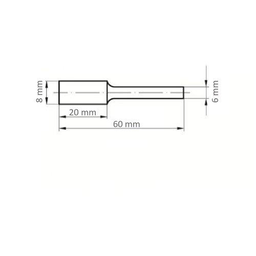 1 Stk | Fräser HFA Zylinderform universal 8x20 mm Schaft 6 mm Maßzeichnung
