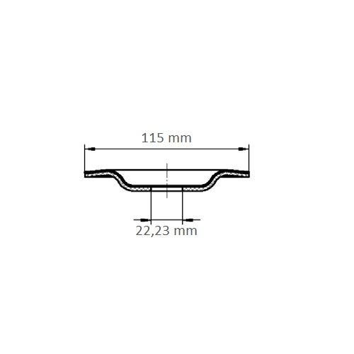1 Stk | Kompaktschleifteller PURPLE GRAIN SINGLE Ø 115 mm Ceramic Korn 36 gekröpft Maßzeichnung