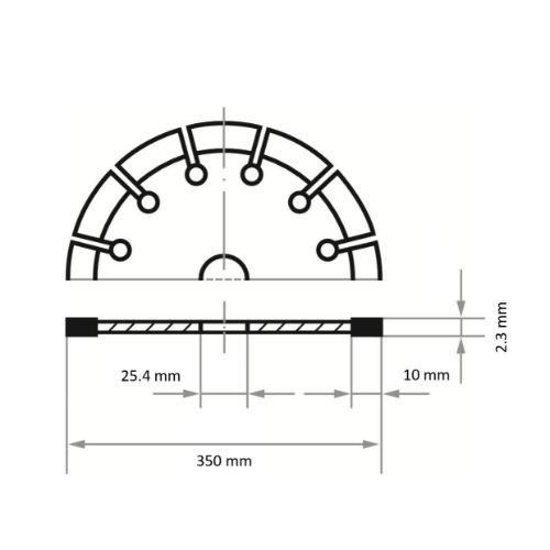 1 Stk | Diamanttrennscheibe LD3 S10 für Stein/Beton/Asphalt Ø 350 mm Benzin-Trennschneider Abb. Ähnlich