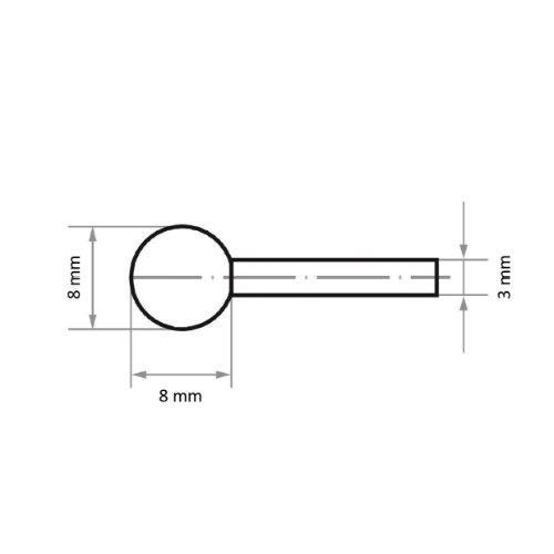 20 Stk | Schleifstift KU Kugelform für Stahl/Stahlguss 8x8 mm Schaft 3 mm | Korn 100 Abb. Ähnlich