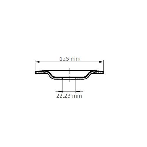 1 Stk   Kompaktschleifteller PURPLE GRAIN SINGLE Ø 125 mm Ceramic Korn 36 gekröpft Maßzeichnung