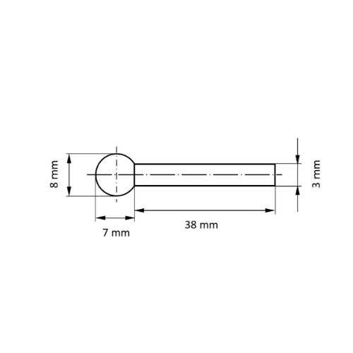 20 Stk | Polierstift P3KU Kugelform 8x7 mm Schaft 3 mm Filz für Polierpaste Abb. Ähnlich
