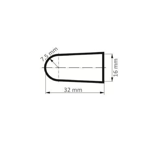 25 Stk | Schleifkappe SKKES Rundkegelform universal 16x32 mm Spezialkorund Korn 80 Maßzeichnung