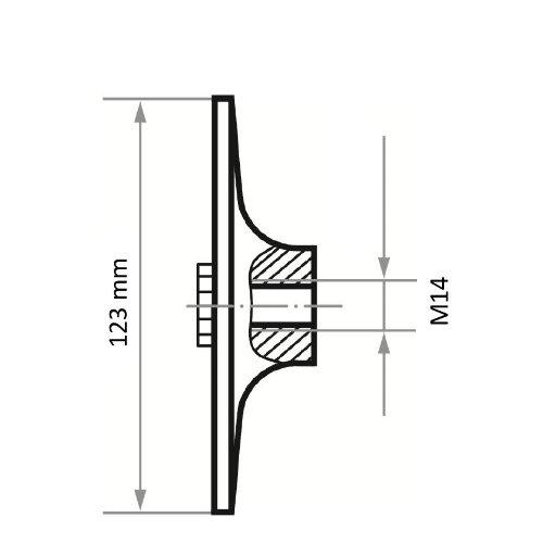 1 Stk | Werkzeugaufnahme GTHZ für Vliesscheiben Ø 125 mm M14-Gewinde Abb. Ähnlich
