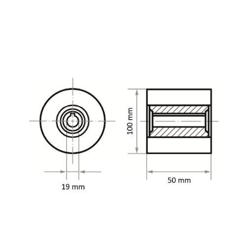 1 Stk | Polierwalze P6PW Medium 100x50 mm Bohrung 19 mm Siliciumcarbid Korn 80 Abb. Ähnlich