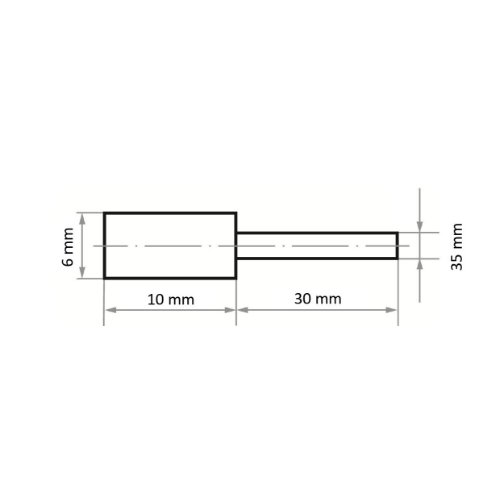 20 Stk | Polierstift P2ZY Zylinderform 6x10 mm Korn 80 | Schaft 3 mm Abb. Ähnlich