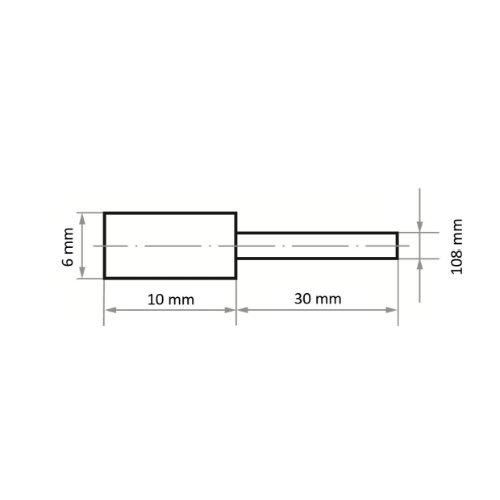 20 Stk   Polierstift P2ZY Zylinderform 6x10 mm Korn 600   Schaft 3 mm Abb. Ähnlich