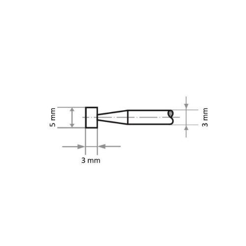 20 Stk   Schleifstift D5 Zylinderform für Stahl/Stahlguss 5x3 mm Schaft 3 mm   Edelkorund Korn 80 Abb. Ähnlich